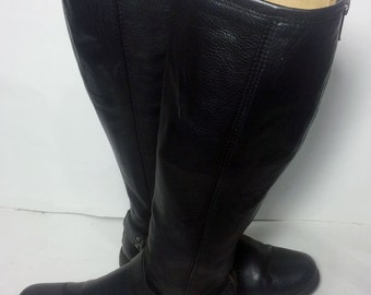 Frye 76851 Phillip Harness Tall Black Leather Boots Women's Size 6.5