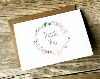 Mini Thank You Cards: Set of 10 Index Card Sized Blank Thank You Cards and Envelopes - Wedding Birthday Business Teacher