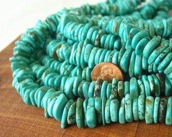 "15"" Magnesite 10mm 12mm Disc Slice Heishi Button Irregular Nugget beads gemstone -  turquoise blue - Half / Full Strand"