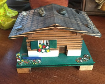 Vintage Swiss Chalet Jewelry Music Box by Mapsa