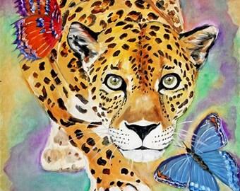 Original-leopard oil paiting,big cats art,oil painting original,animal art,colorful art,fun art,wall art original,butterflies art,wildlife