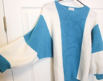 FREE SHIPPING! Vintage Sweater - Jan Martin Original - Teal Blue & White - Oversized Knit