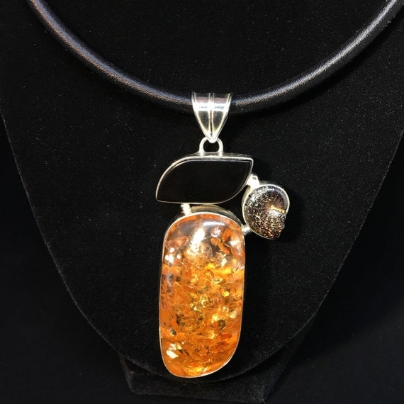 APOTHECARY HOLISTIC Baltic AMBER, Black Onyx, and Ammonite Fossil 925 Sterling Silver Pendant