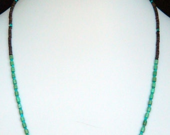 Native American Navajo Green & Blue Turquoise Olive Shell Heishi Sterling Necklace 19 1/4""