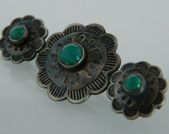 Native American Indian Navajo Green Turquoise Sterling Silver Concho Vintage  Pin 1960s