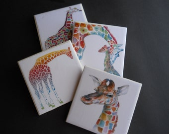 Giraffe Coasters ~ Colorful Giraffes ~ Ceramic Tile Coasters ~ Safari Animals ~ Wildlife Animals ~ Safari Decor ~ Home Decor ~ Animal Lover