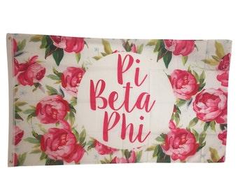 Pi Beta Phi White Rose Floral Flag 3' x 5'