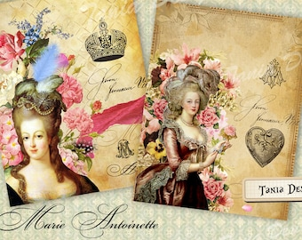Marie Antoinette  - Large Images - Backgrounds - 8.5 x11 inch - Digital Print - to print on- Tote, Bags, t-shirts Download