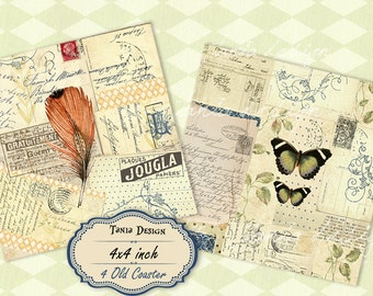 OLD Coaster - Digital Collage Sheet 4x4 inch size Images Printable download for Coasters, Greeting cards, Scrapbook, Gift tags