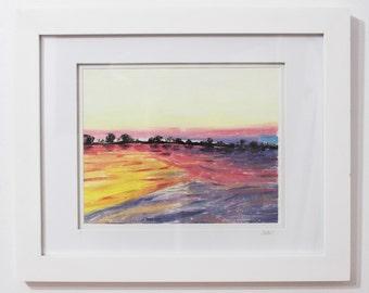Heckscher at Sunset - Original Framed Monoprint