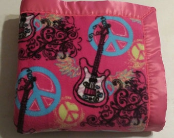 Fuschia Pink Guitar and Peace Sign Double-Sided Fleece Blanket (Ready To Ship)