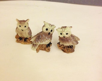 3 Miniature Owl Figurines Miniature Fairy Garden Embellishments
