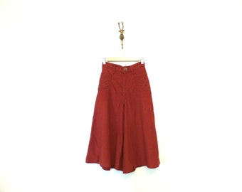 70s Vintage Rust Colored Corduroy Culottes