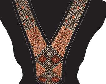 Folklore Embroidered V Necklace Collar for Fashion Crafts