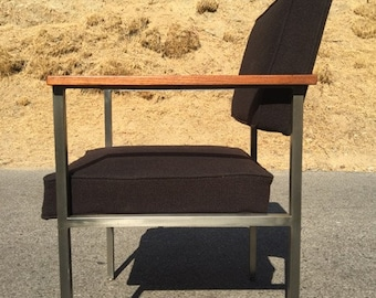 Florence Knoll Style mid century modern wool and steel chair