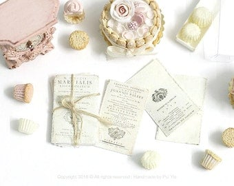 Dollhouse Miniature Accessories- Set of Shabby Chic Antique letters/papers documents (Stack display set and 3 Loose)