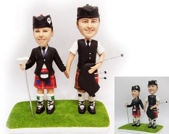 Personalised wedding cake topper - Scottish Pipe Theme  (Free shipping)