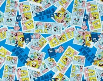 SpongeBob SquarePants Blue Cotton Fabric by Springs Creative! [Choose Your Cut Size]