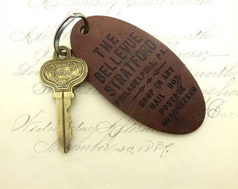 Vintage HOTEL ROOM KEY The Bellevue Stratford Hotel Philadelphia Brass Room Key 1303 Tag