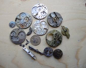 Antique pocket watch Brass parts / Featured / Steampunk supplies / Pocket Watch Movements / Antique Watch movements Steampunk supply Pw31