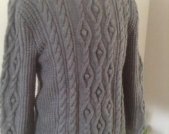 Hand knitted sailors jumper in aran wool blend