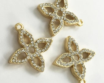 5  pcs Gold  Plated Rhinestone Four Leaf Clover  Charms Four Leaf Clover  Bracelet  Exclusive Jewelry.