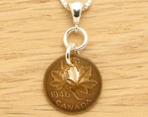 70th Birthday: 1946 Canadian Dark Copper Penny Necklace 70th Birthday Gift Coin Jewelry
