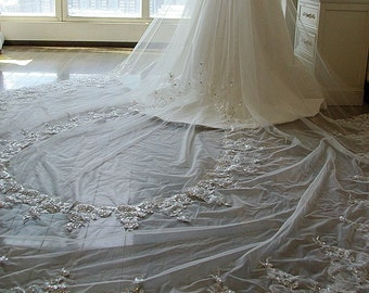 Angel Wings Luxury Cathedral Lace Veil Wedding Veil Long Veil