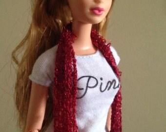 Burgundy  Monster High Fashion Royalty Doll Clothes Handmade scarf Crochet OOAK Custom