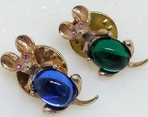 Mouse Scatter Lapel Pins, Tie Tacks, Pair of Rhinestone Mice, Gold Tone, Vintage Costume Jewelry