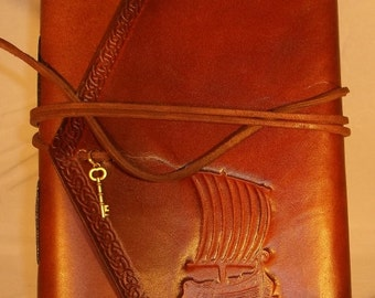 Handmade Leather Journal Viking Ship Brown  Made in the USA