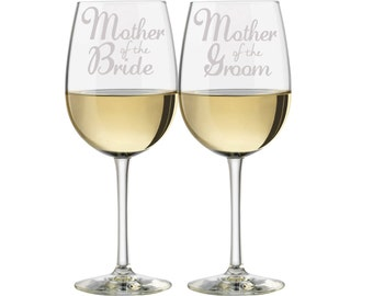 Mother of the Bride wine Glasses, Mother of the Groom wine glasses, (Set of 2), Personalized Weddng Glassses, Etched Wine Glasses