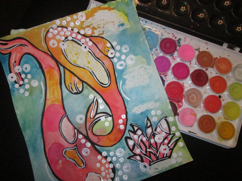 Japanese koi painting koi art gallery koi fish wall art for Koi fish canvas art