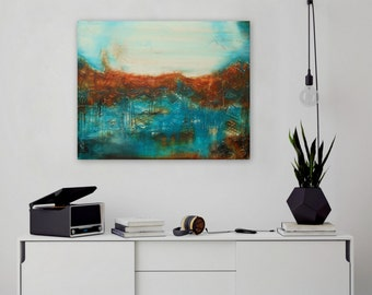 Art Original Acrylic Abstract Painting Contemporary Wall Art Decor Textured Painting Turquoise Brown - Ready to Hang by Maria Sa