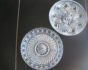 Vintage Crystal Set Of 2 Divided Bowls