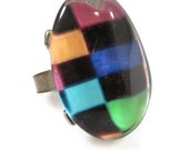 Large Colorful Checkered Resin Bubble Ring - Adjustable
