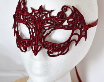Embroidered Lace Bat Mask