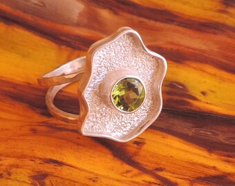 Sonoma. Twin Band Textured Peridot Ring.Freeform design.
