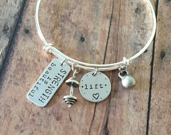 Fitness Jewelry STRENGTH Is BEAUTIFUL  Lift Love Bangle Bracelet with Sterling Silver Barbell and Mini Kettlebell Charms