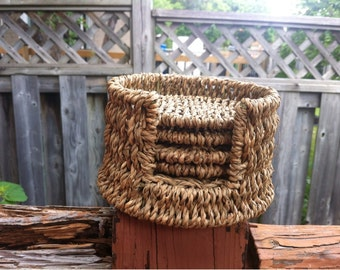 Mid Century Old Round Wicker Drink Coasters with Holder Box