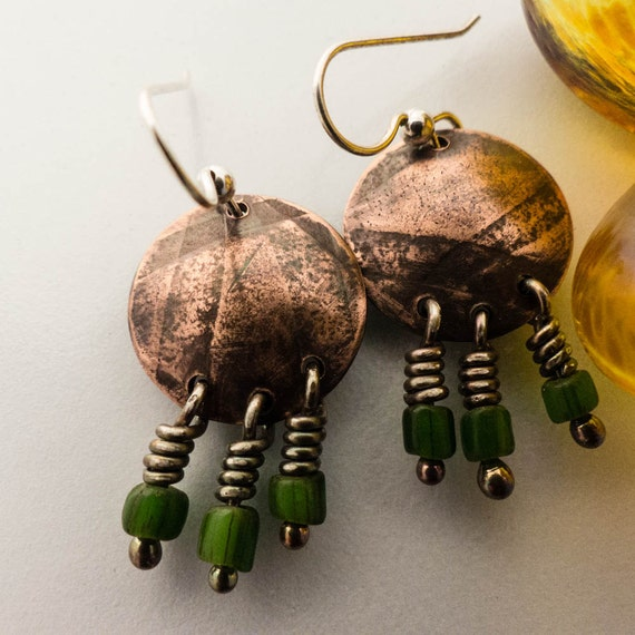 Copper Patinaed Sterling Silver Handmade Earrings
