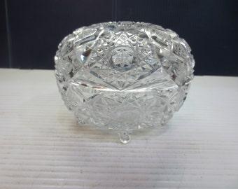 Deep Heavily Cut Crystal Oval Candy Dish Signed Czechoslovakia