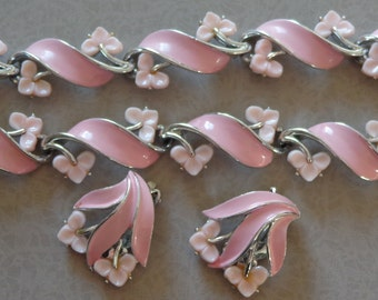 Vintage Necklace Bracelet Earrings LISNER Parure Pink Flowers Enamel Silver Tone