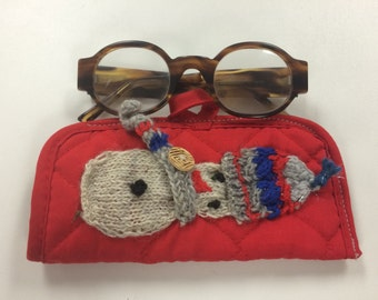 Red Christmas case, reading glasses case, pouch, handmade
