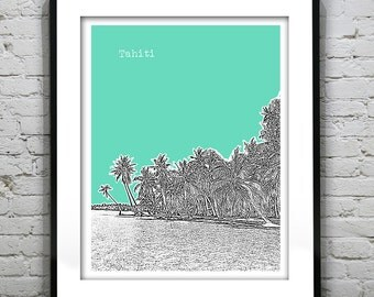 Tahiti Skyline Poster Art Print Version 2