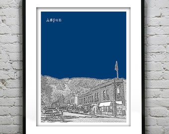 Aspen Colorado CO City Skyline Colorado Poster Art Print
