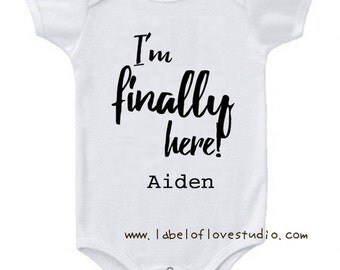 Personalised I'm Finally Here Romper