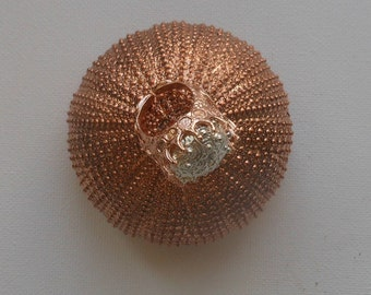 Silver and pink gold Sea Urchin ring Handmade  fine silver jewellery