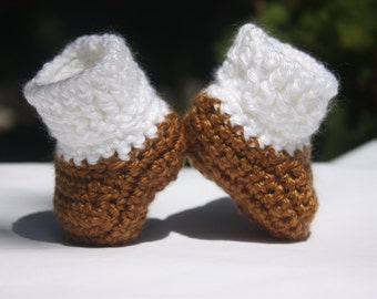 White and Brown Baby Booties - Baby Boy Crochet Booties - Newborn Crochet Booties - Two Tone Booties