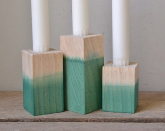 Set of Three Green Dipped Wooden Candlestick Holder